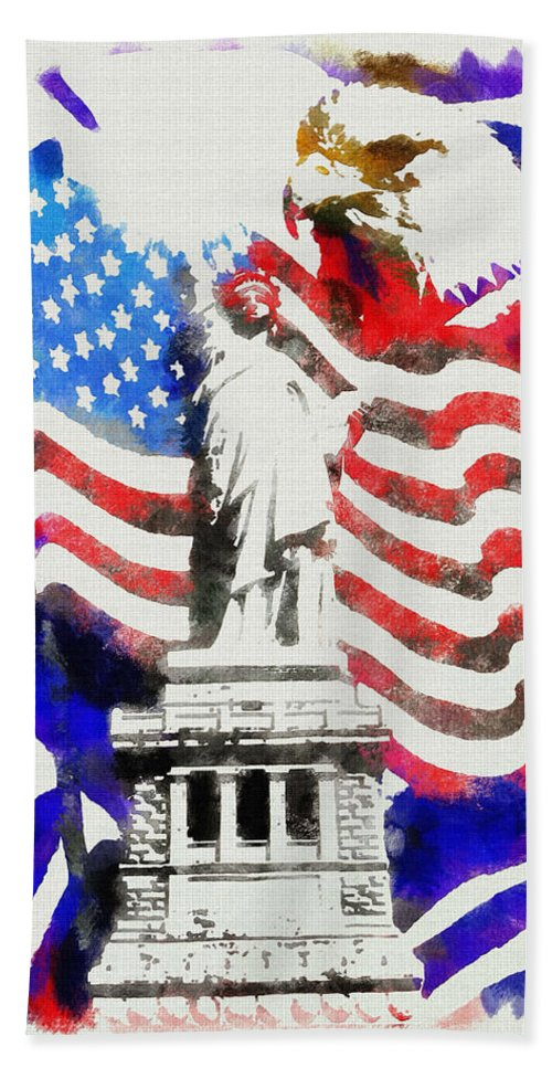 Patriotic Symbols Bath Sheet featuring the painting Patriotic Symbolism by Mario Carini