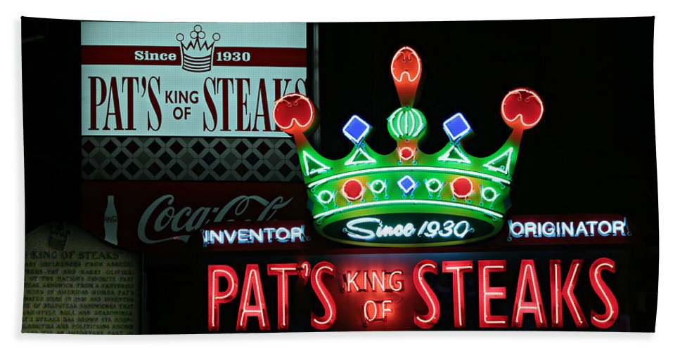 American Bath Sheet featuring the photograph Pat's King Of Steaks by Stephen Stookey
