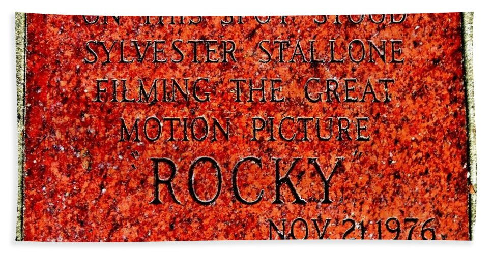 Rocky Bath Sheet featuring the photograph Pats Steaks - Rocky Plaque by Benjamin Yeager