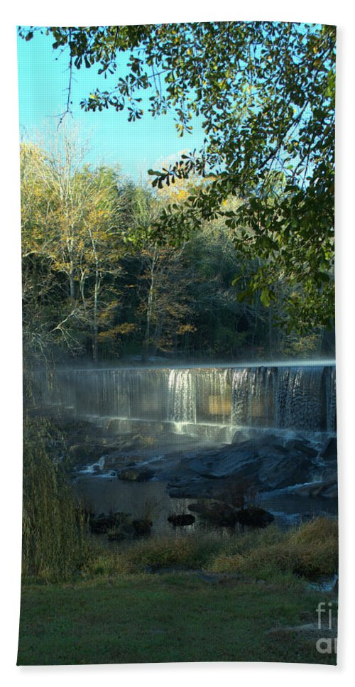 Morning Hand Towel featuring the photograph Patsiliga Creek Falls by Donna Brown