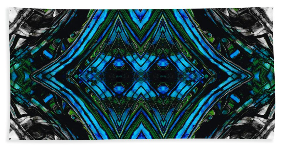 Blue Hand Towel featuring the painting Patterned Art Prints - Cool Change - By Sharon Cummings by Sharon Cummings