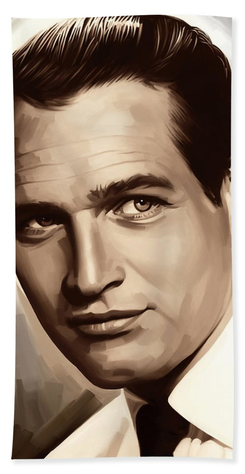 Paul Newman Paintings Hand Towel featuring the painting Paul Newman Artwork 1 by Sheraz A