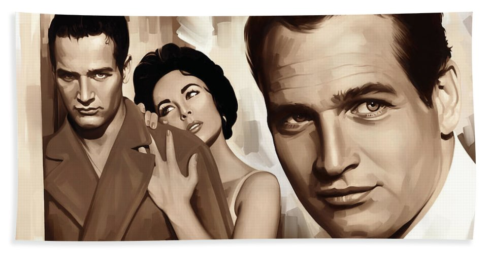 Paul Newman Paintings Hand Towel featuring the painting Paul Newman Artwork 2 by Sheraz A