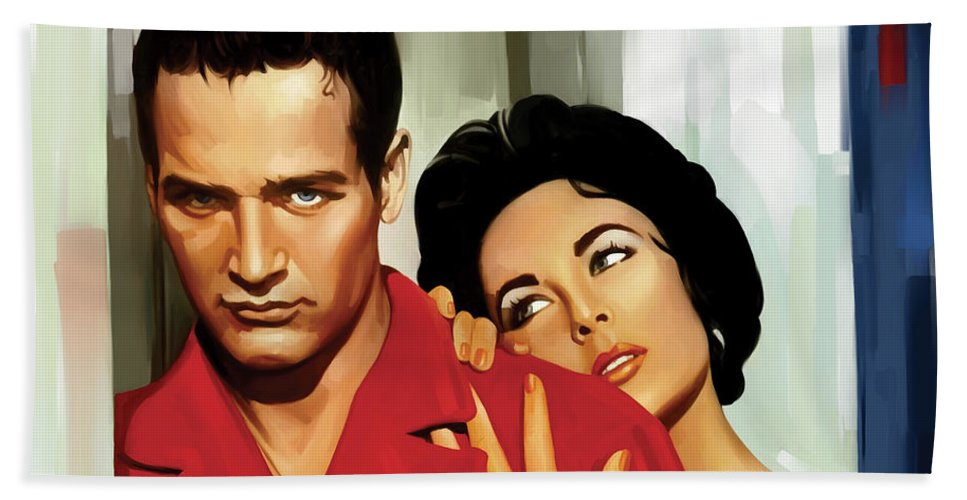 Paul Newman Paintings Hand Towel featuring the painting Paul Newman Artwork 3 by Sheraz A