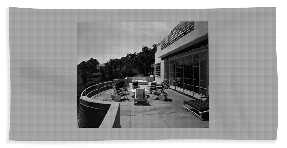 Exterior Bath Towel featuring the photograph Paved Terrace At The Residence Of Mr. And Mrs by Clyde H. Sunderland