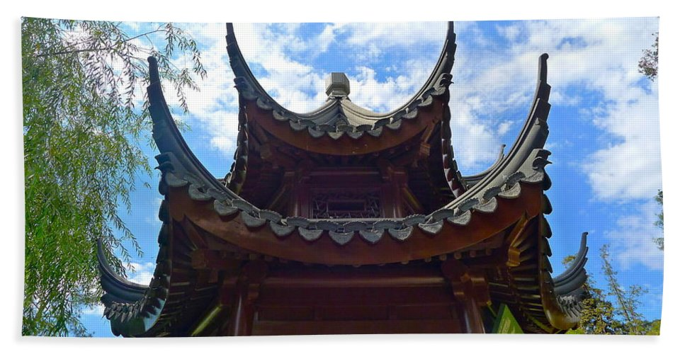 Chinese Hand Towel featuring the photograph Pavilion Of Three Friends by Denise Mazzocco
