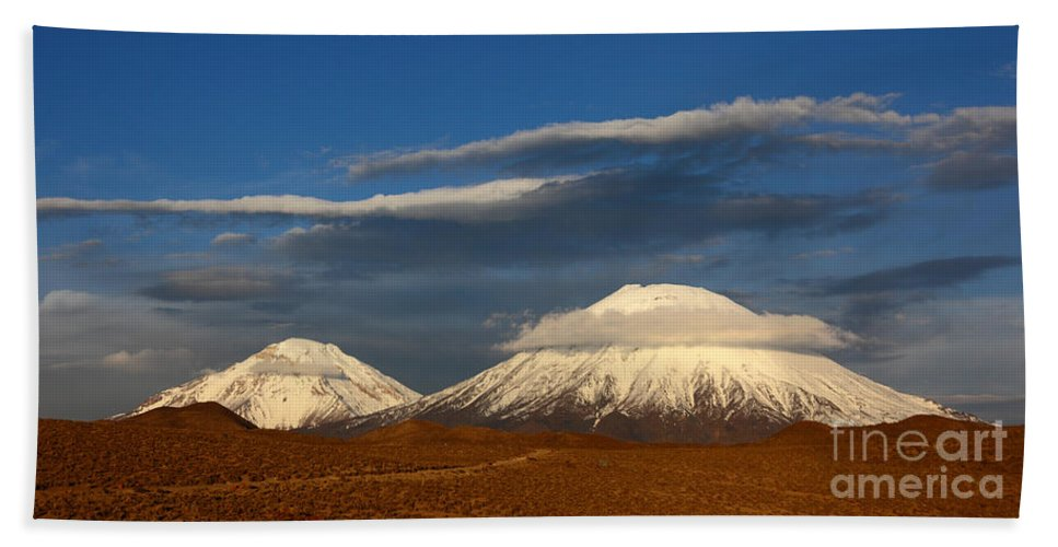Chile Bath Sheet featuring the photograph Payachatas Volcanos Chile by James Brunker