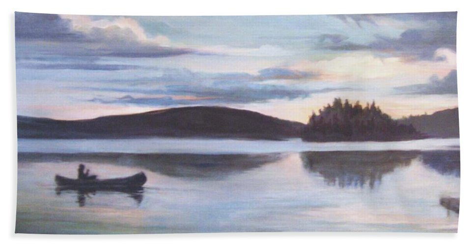 Nature Hand Towel featuring the painting Payette Lake Idaho by Donna Tucker