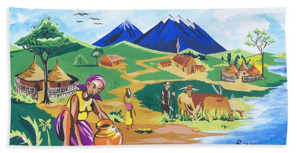 African Art Hand Towel featuring the painting Paysage Du Nord Du Rwanda by Emmanuel Baliyanga