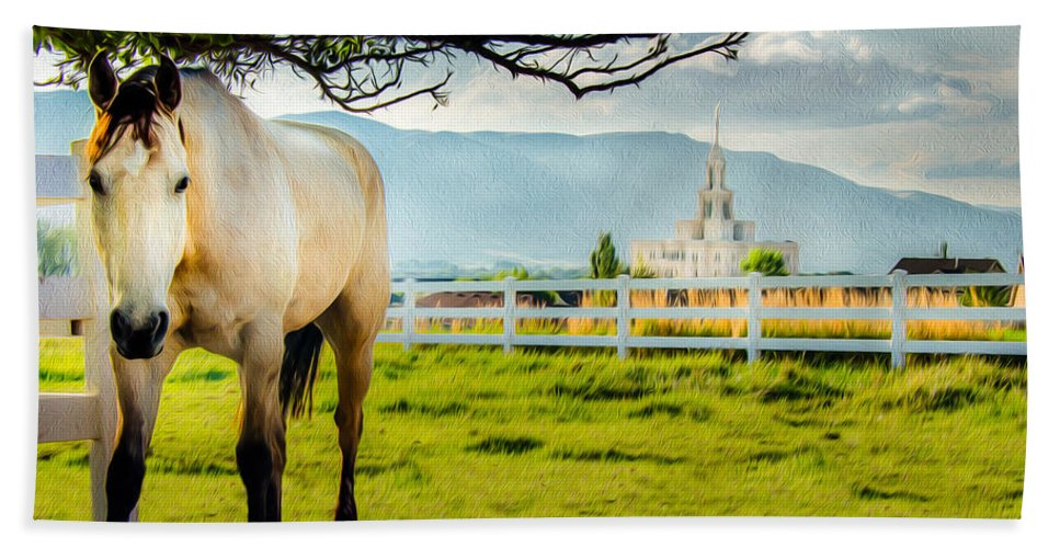 Lds Temples Hand Towel featuring the photograph Payson Country Temple Oil Paint Texture by La Rae Roberts