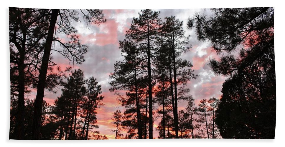 Sunset Trees Bath Sheet featuring the photograph Payson Pines Sunset by Michelle Cassella