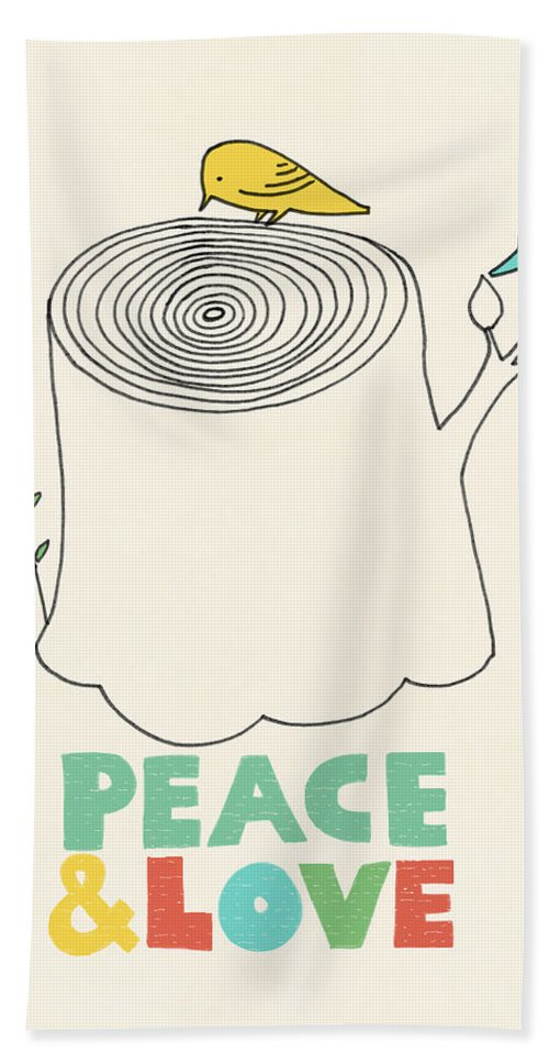 Birds Bath Towel featuring the drawing Peace And Love by Eric Fan