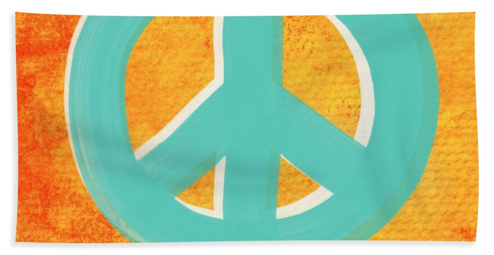 Peace Bath Towel featuring the painting Peace by Linda Woods