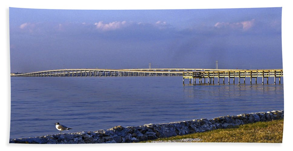 Route 41 Bridges Bath Sheet featuring the photograph Peace River Bridge by Sally Weigand