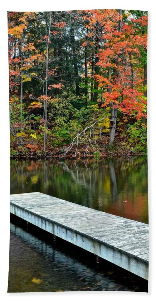 Peaceful Hand Towel featuring the photograph Peaceful Autumn Day by Frozen in Time Fine Art Photography