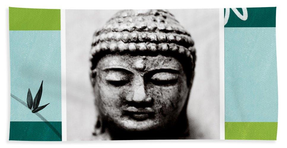 Buddha Hand Towel featuring the painting Peaceful Buddha- Zen Art by Linda Woods