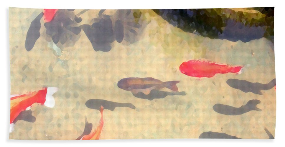 Fish Hand Towel featuring the photograph Peaceful Day In The Pond by Jeanne A Martin