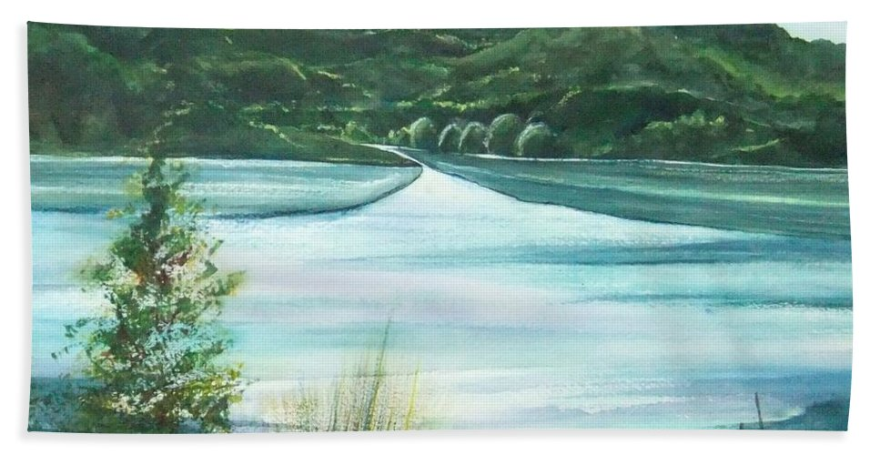 Lake Hand Towel featuring the painting Peaceful Lake by Debbie Lewis