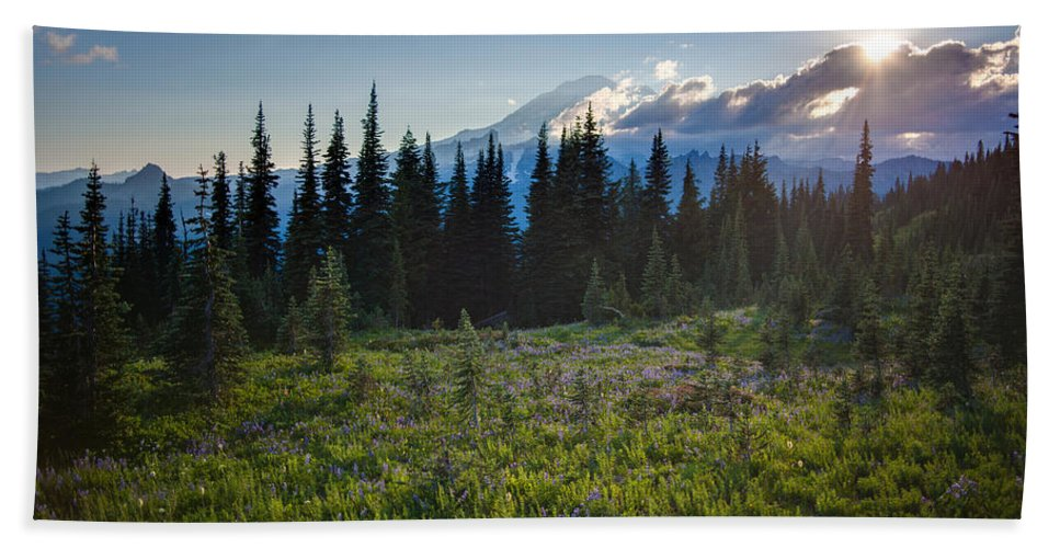 Rainier Hand Towel featuring the photograph Peaceful Mountain Flowers by Mike Reid