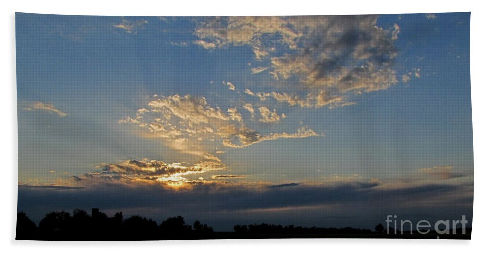 Sky Bath Sheet featuring the photograph Peaceful Sunset by Debbie Portwood