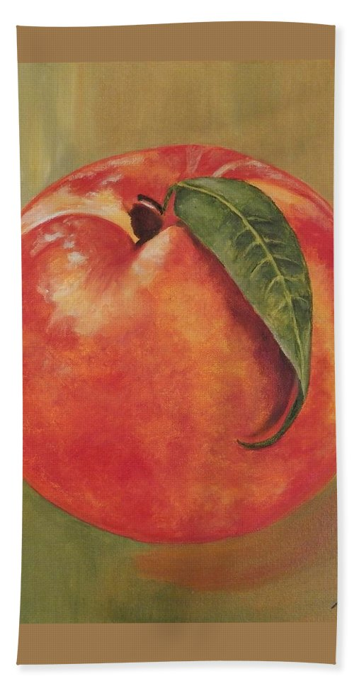 Peach Hand Towel featuring the painting Peach by Graciela Castro