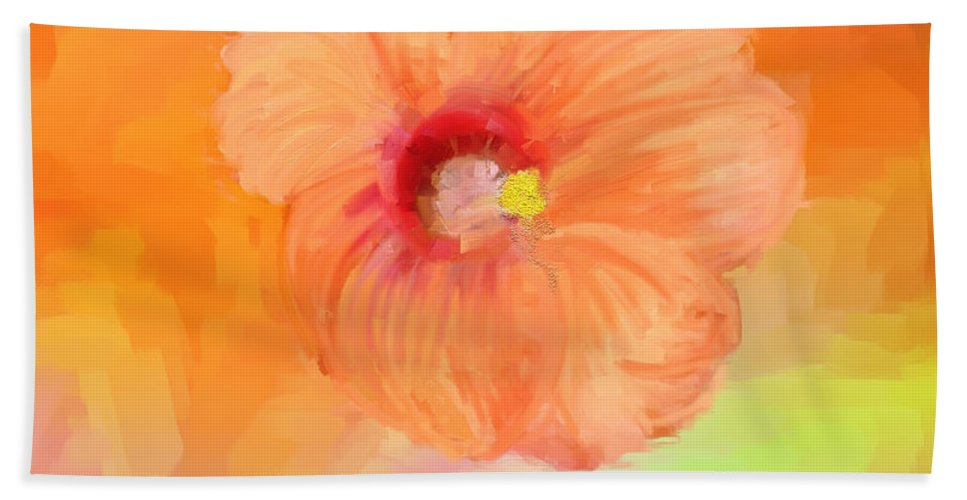Peach Hibiscus Hand Towel featuring the painting Peach Hibiscus by Angela Stanton
