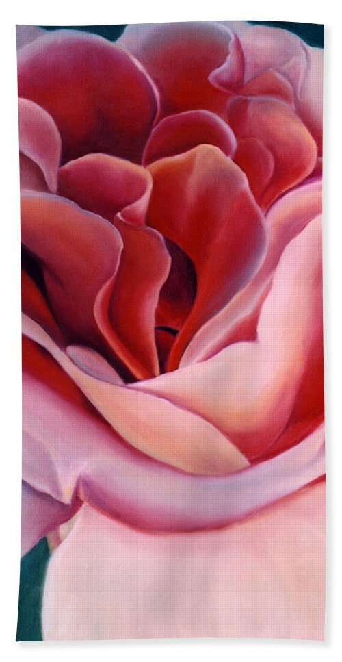 Flower Prints Hand Towel featuring the painting Peach Rose by Anni Adkins