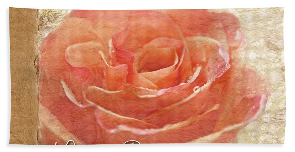 Dew Bath Sheet featuring the photograph Peach Rose Birthday Card by Debbie Portwood