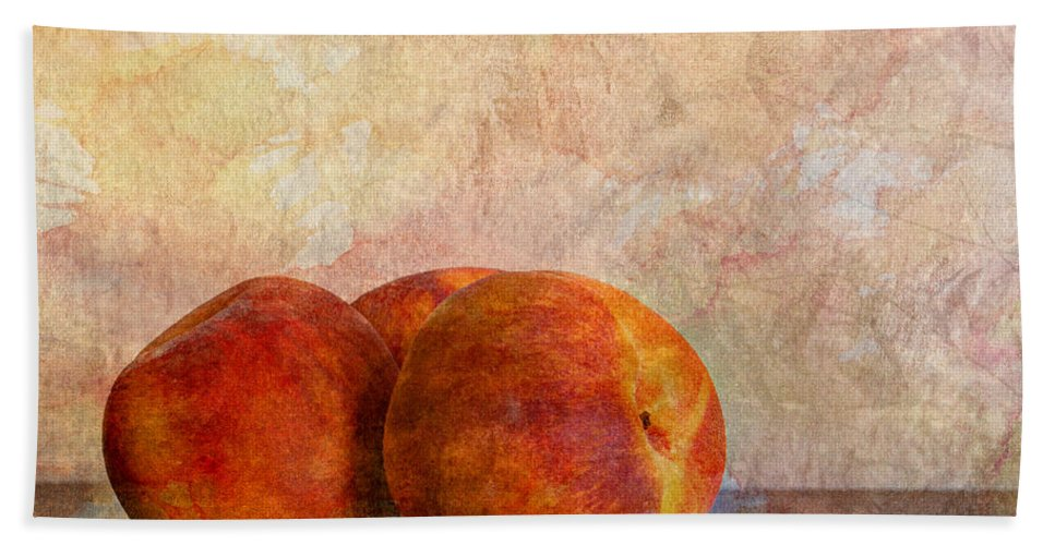 Agriculture Bath Sheet featuring the photograph Peach Trio by Heidi Smith