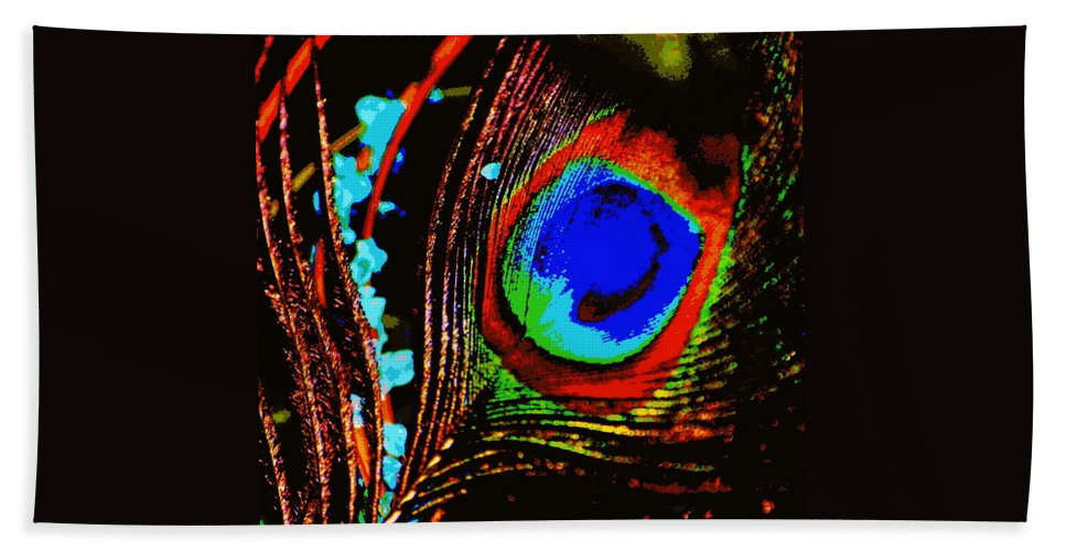 Peacock Bath Sheet featuring the digital art Peacock Feather Abstract by Laurie Pike