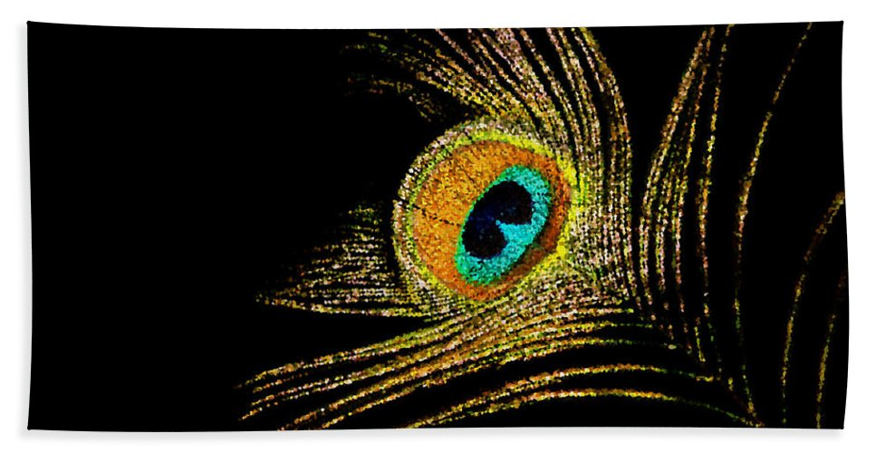Peacock Hand Towel featuring the digital art Peacock Feathers 7 by Tina Meador