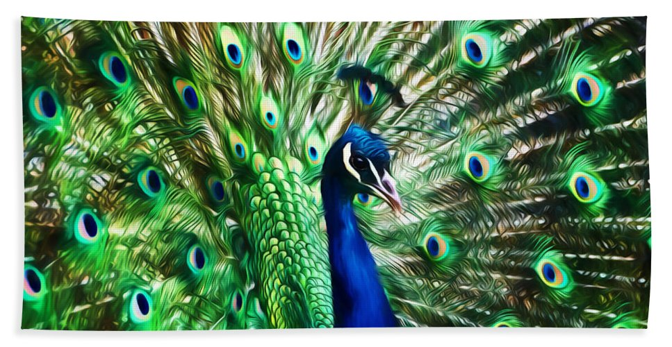 Peacock Bath Sheet featuring the photograph Peacock - Impressions by Susie Peek