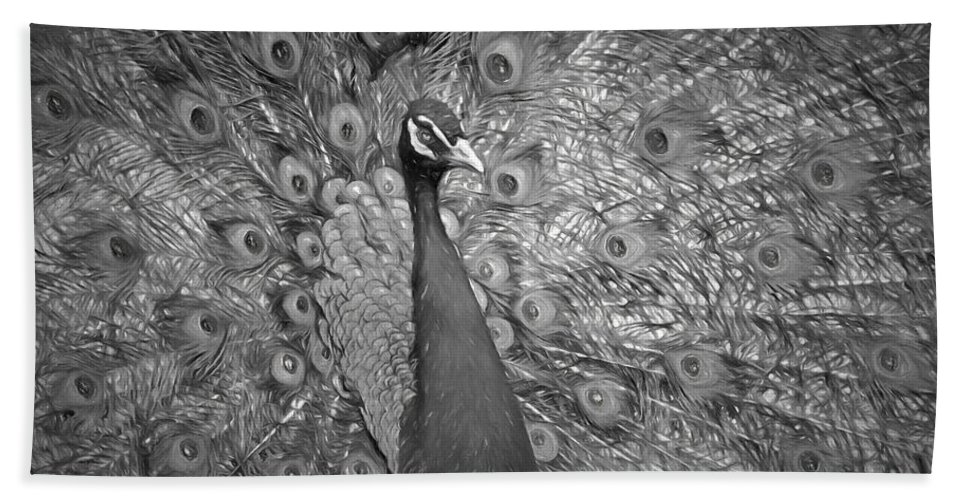 Peacock Bath Sheet featuring the photograph Peacock In Black And White by Alice Gipson