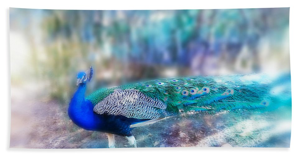 Peacock Hand Towel featuring the photograph Peacock In The Mist by Diana Haronis