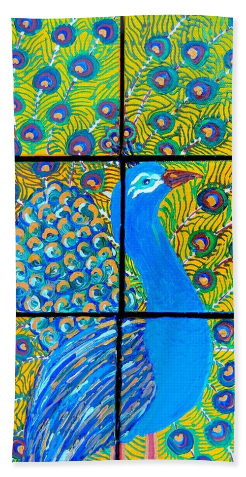 Peacock Hand Towel featuring the painting Peacock Ix by Kruti Shah