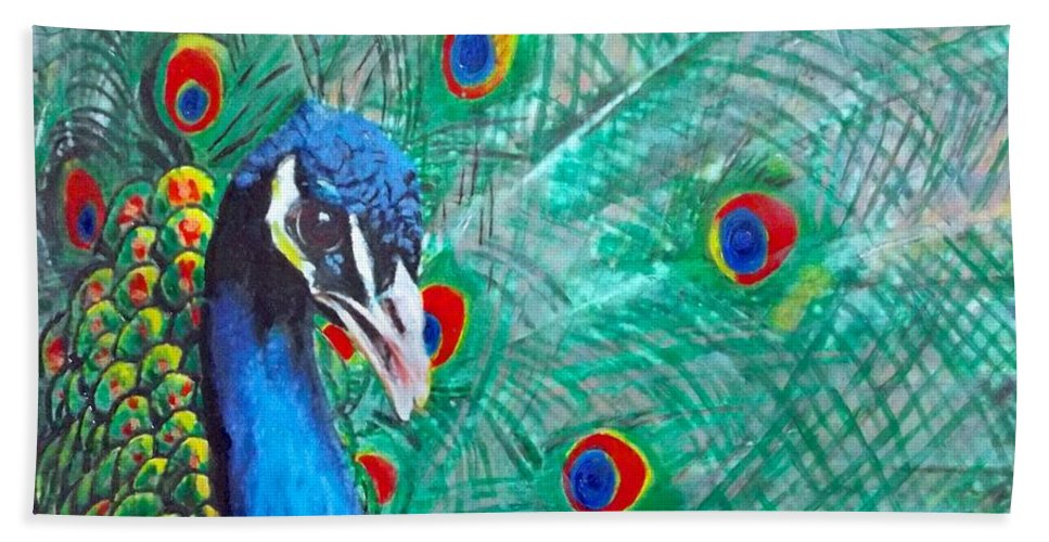 Peacock Bath Sheet featuring the painting Peacock Love by Cara Frafjord