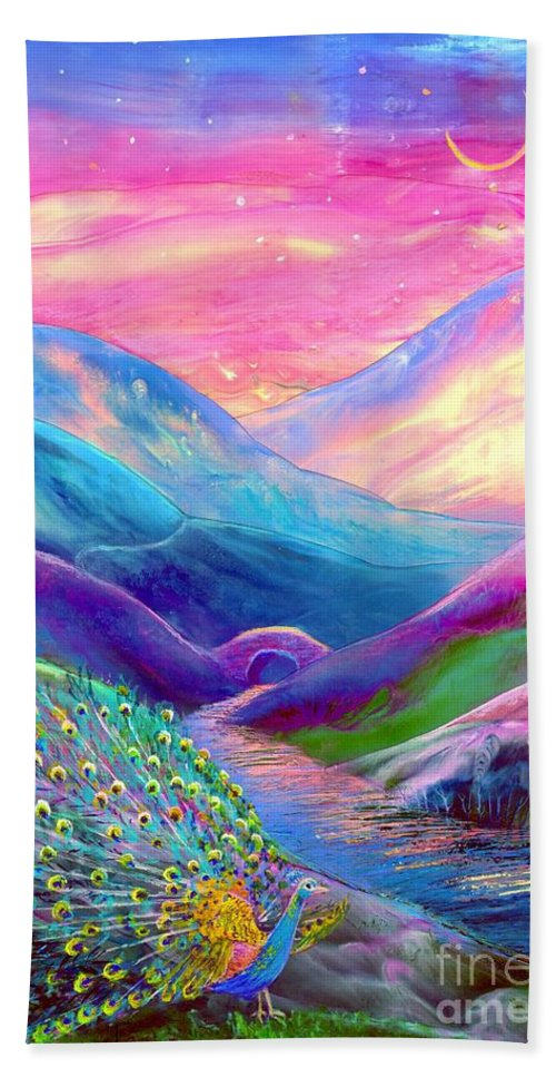 Sunset Hand Towel featuring the painting Peacock Magic by Jane Small