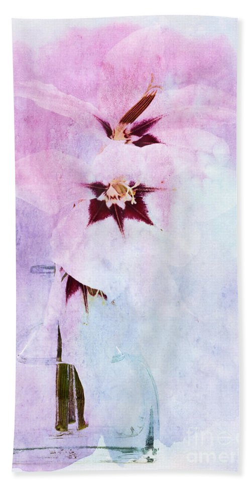Orchid Bath Sheet featuring the digital art Peacock Orchids by Ann Garrett