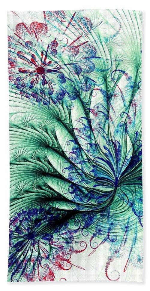Malakhova Bath Sheet featuring the digital art Peacock Tail by Anastasiya Malakhova