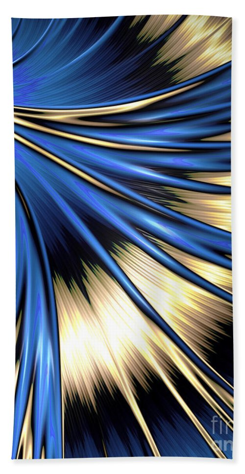 Peacock Hand Towel featuring the digital art Peacock Tail Feather by Vix Edwards