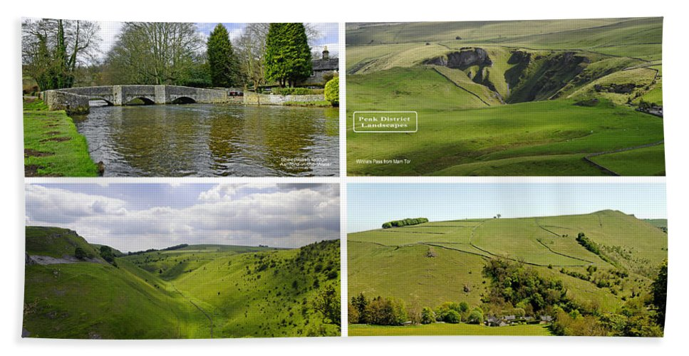 Europe Bath Sheet featuring the photograph Peak District Collage 01-labelled by Rod Johnson