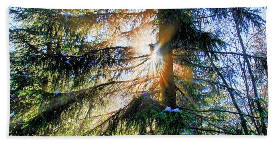 Mariola Bitner Bath Sheet featuring the photograph Peeking Through God's Shadow by Mariola Bitner