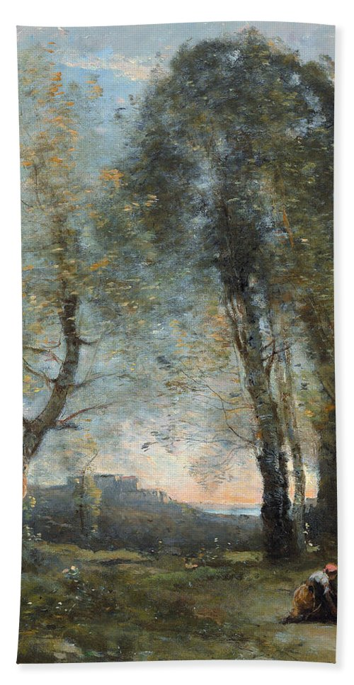 Corot Bath Sheet featuring the painting Peasant Woman Collecting Wood by Jean Baptiste Camille Corot