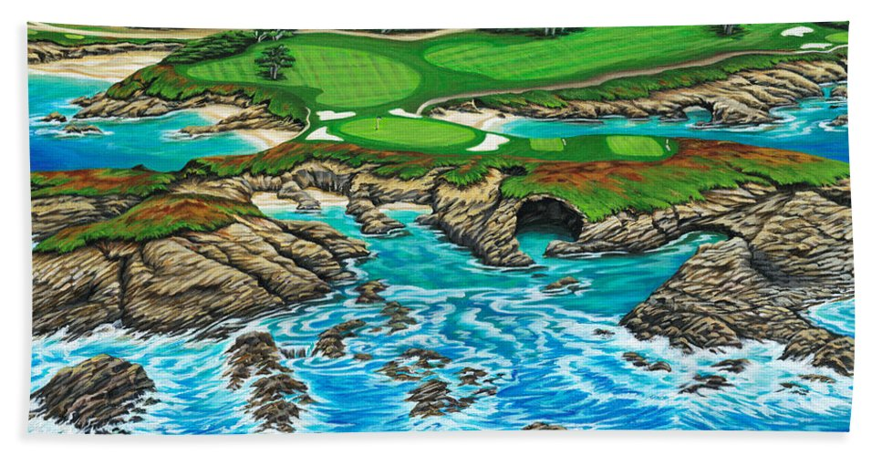 Ocean Bath Towel featuring the painting Pebble Beach 15th Hole-north by Jane Girardot