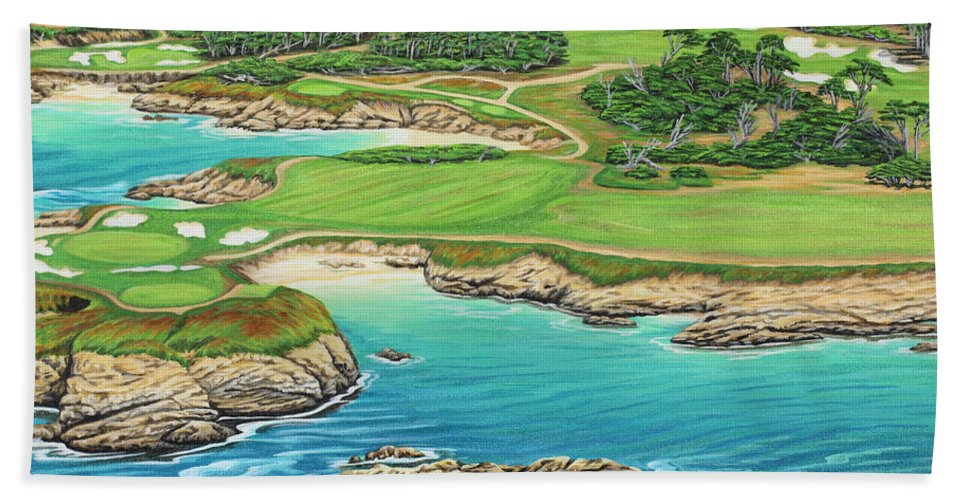 Ocean Bath Towel featuring the painting Pebble Beach 15th Hole-south by Jane Girardot