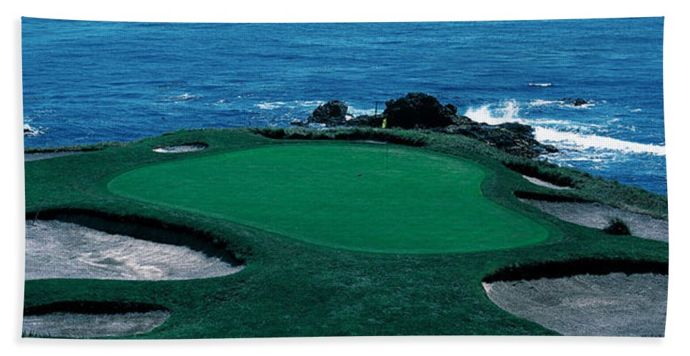 Photography Hand Towel featuring the photograph Pebble Beach Golf Course 8th Green by Panoramic Images