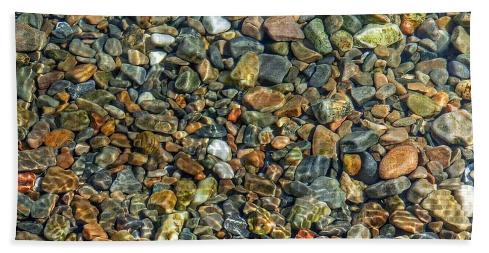 Pebbled Beach Bath Sheet featuring the photograph Pebbled Shore At Ullapool by Joan-Violet Stretch