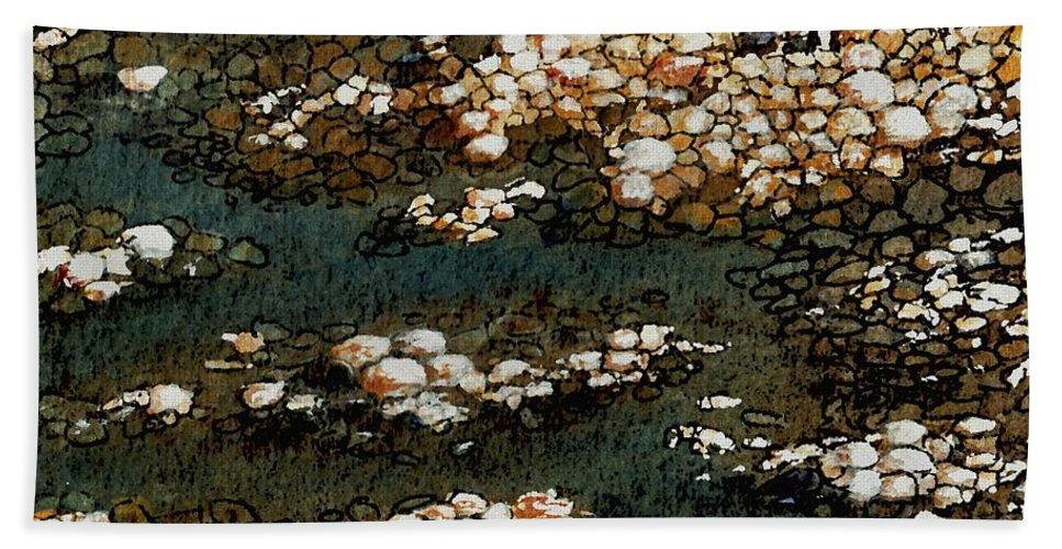 Water Bath Sheet featuring the painting Pebbles by Anastasiya Malakhova