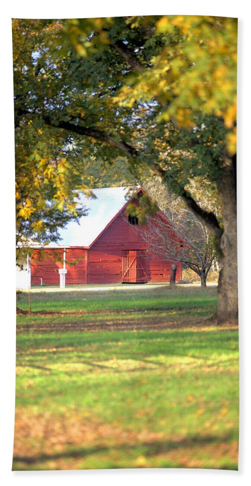 3286 Hand Towel featuring the photograph Pecan Orchard Barn by Gordon Elwell