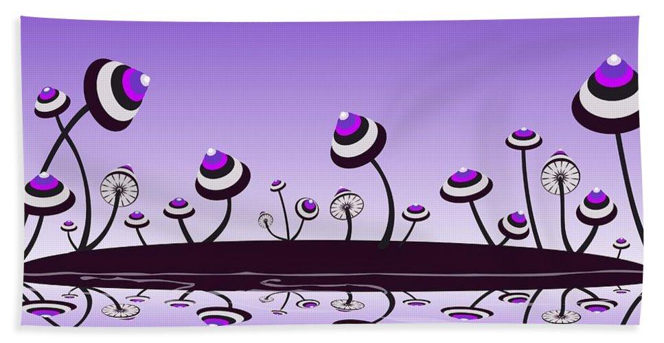 Mushroom Hand Towel featuring the digital art Peculiar Mushrooms by Anastasiya Malakhova